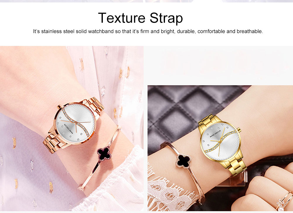 Multifunctional Electronic Watch Setting Auger, Waterproof Watch with Wear Resistant Crystal Watch Mirror for Women Elegant Quartz Wrist Watch 6