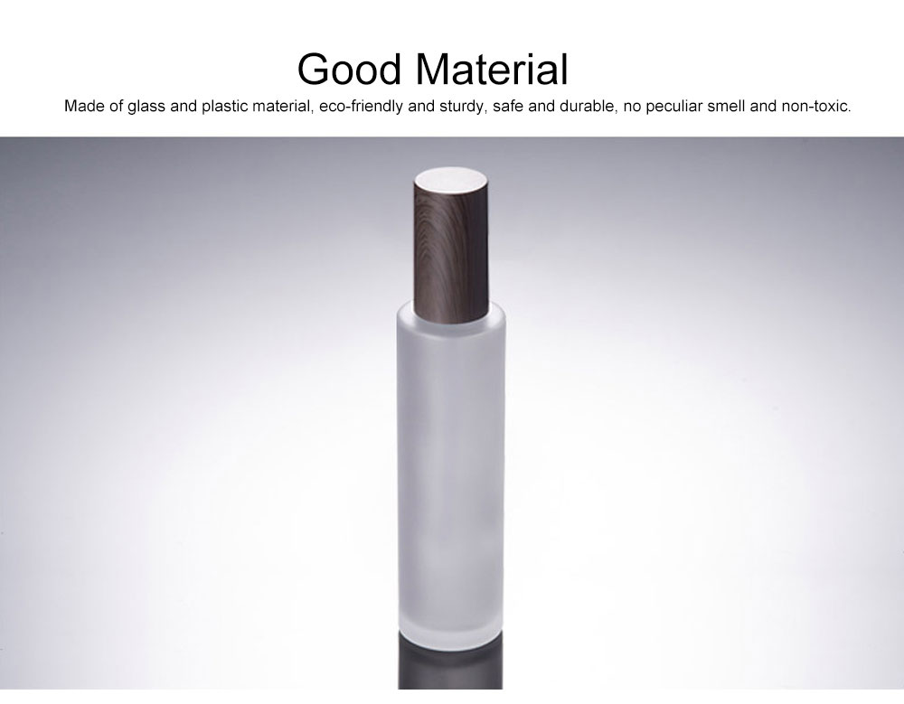 120ML Empty Refillable Glass Lotion Bottle Women Portable Transparent Frosted Bottle with Wood Grain Lid For Cream Lotion Essential Oil Toner 3