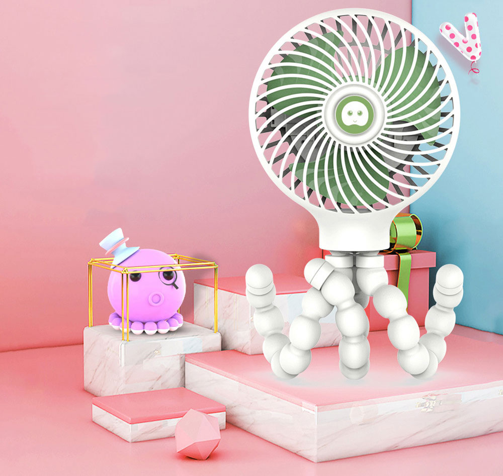 Octopus Fan for summer, Protection Mechanism Spiral Design Holding Fan, A Variety of Forms Three Wind USB Small Fan 2