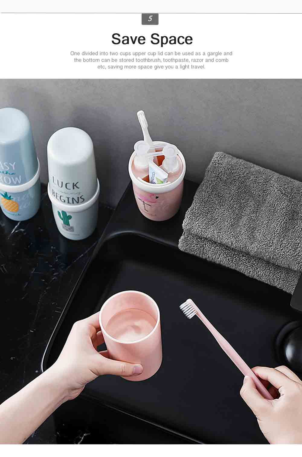 Portable Travel Gargle Brush Cup Set Simple Household Toothpaste Box Couple&Children Toothbrush Box Case Container Plastic Storage 5