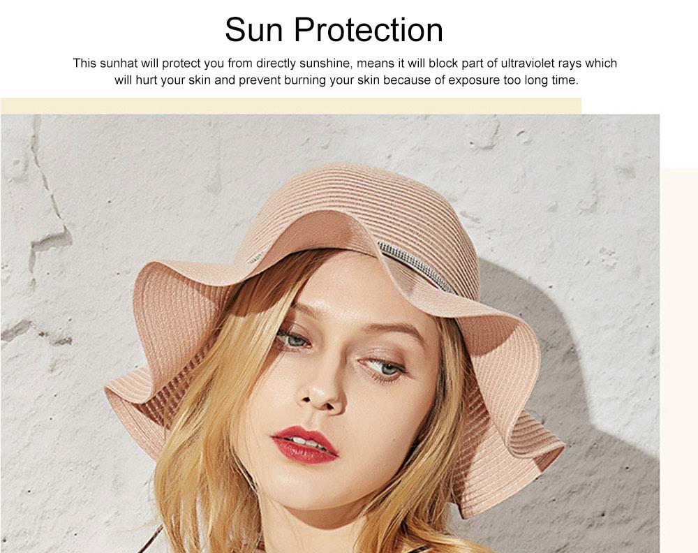 Elegant Ladies Beach Sun Hat Studded Wide Brim Hat Fashion Women Cap Fisherman Hat Best Gifts for Women 5