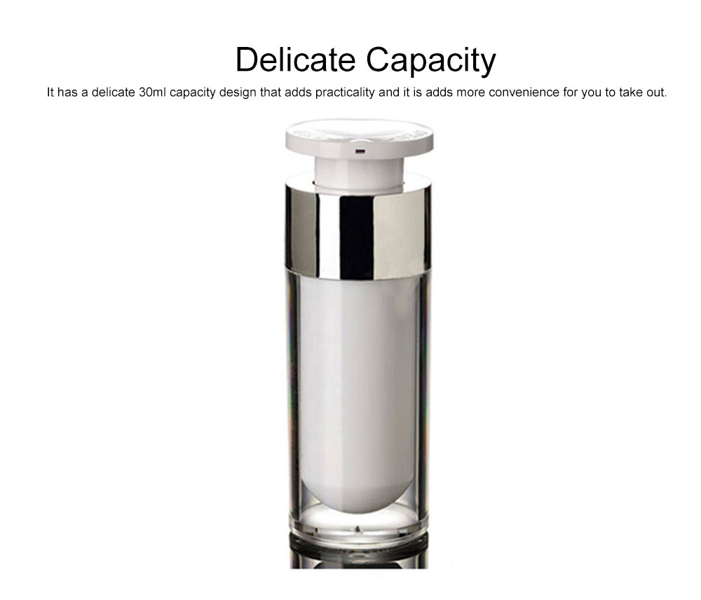 Acrylic Bottle for Traveler, Contracted Shape Delicate Capacity Vacuum Flask, External Spring Rotating Switch Lock Emulsion Bottle 2