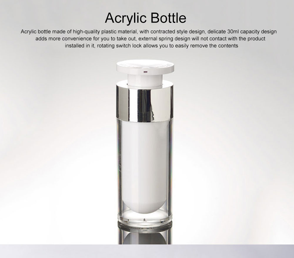 Acrylic Bottle for Traveler, Contracted Shape Delicate Capacity Vacuum Flask, External Spring Rotating Switch Lock Emulsion Bottle 0