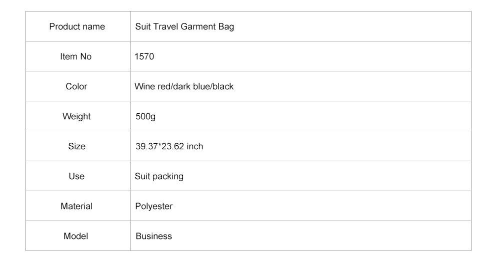 Mens Suit Travel Garment Bag Travel Suit Packing Organizer with Zipper Pocket, Dustproof Garment Folder 10