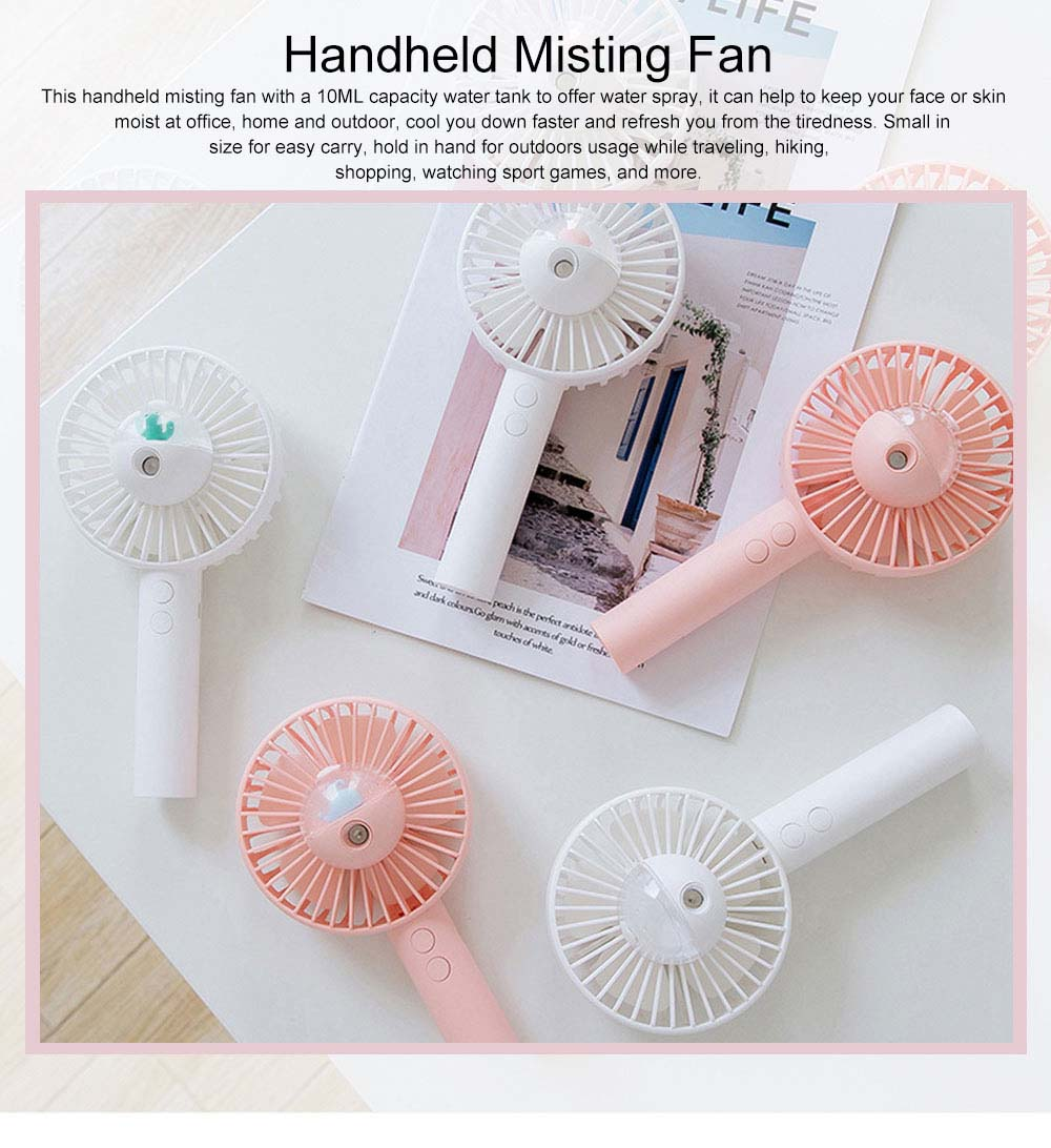 Handheld Misting Fan USB Charging Small Desk Fan Cute Portable Cooling Fan with Cooling Humidifier Mister 0