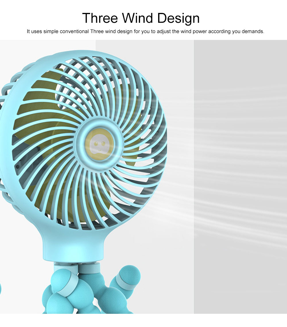Octopus Fan for summer, Protection Mechanism Spiral Design Holding Fan, A Variety of Forms Three Wind USB Small Fan 7