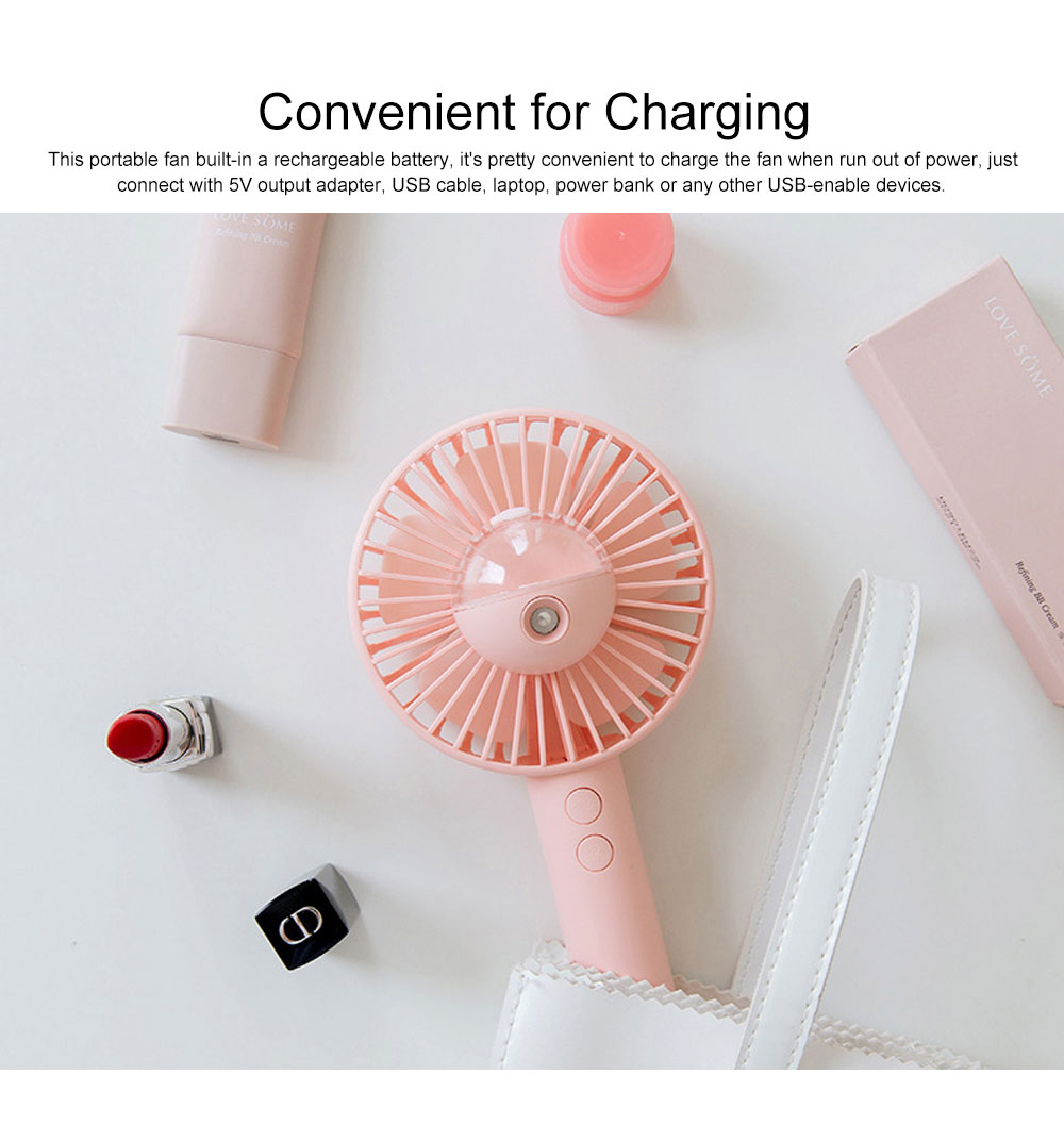 Handheld Misting Fan USB Charging Small Desk Fan Cute Portable Cooling Fan with Cooling Humidifier Mister 5