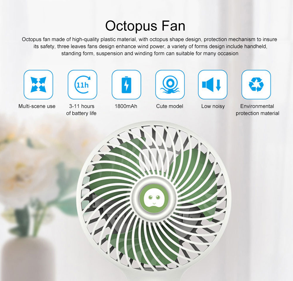 Octopus Fan for summer, Protection Mechanism Spiral Design Holding Fan, A Variety of Forms Three Wind USB Small Fan 0