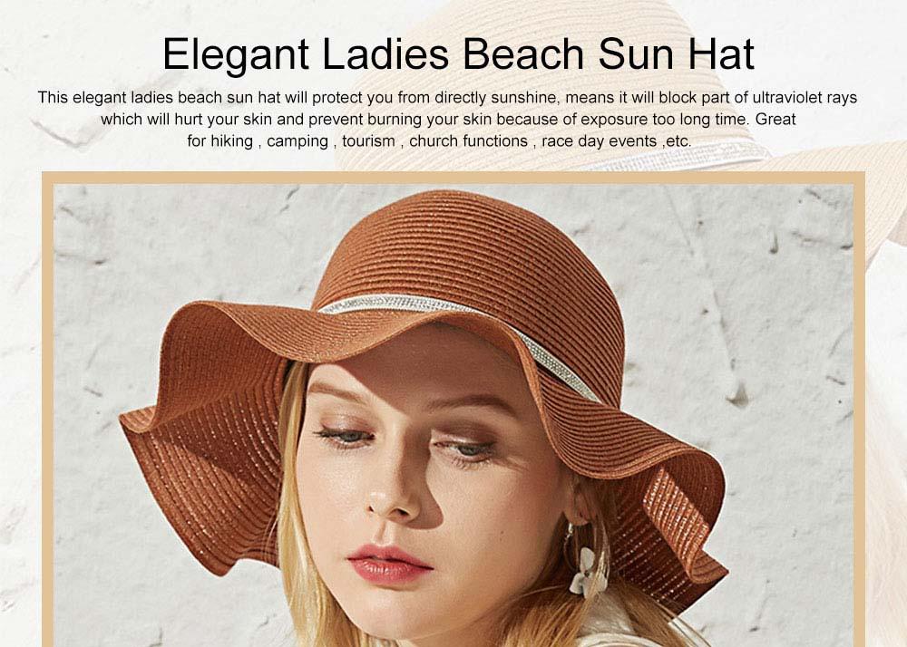 Elegant Ladies Beach Sun Hat Studded Wide Brim Hat Fashion Women Cap Fisherman Hat Best Gifts for Women 0