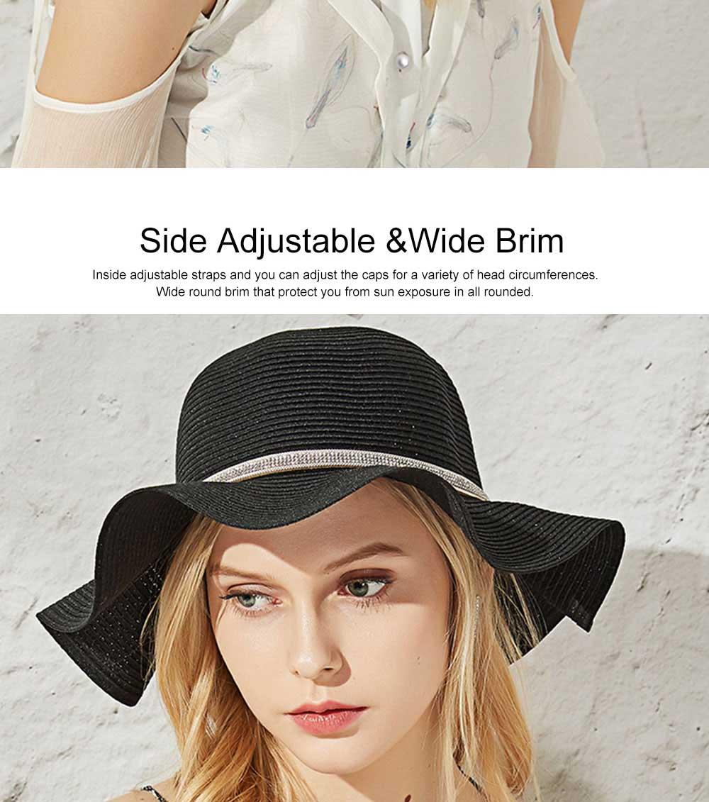 Elegant Ladies Beach Sun Hat Studded Wide Brim Hat Fashion Women Cap Fisherman Hat Best Gifts for Women 10