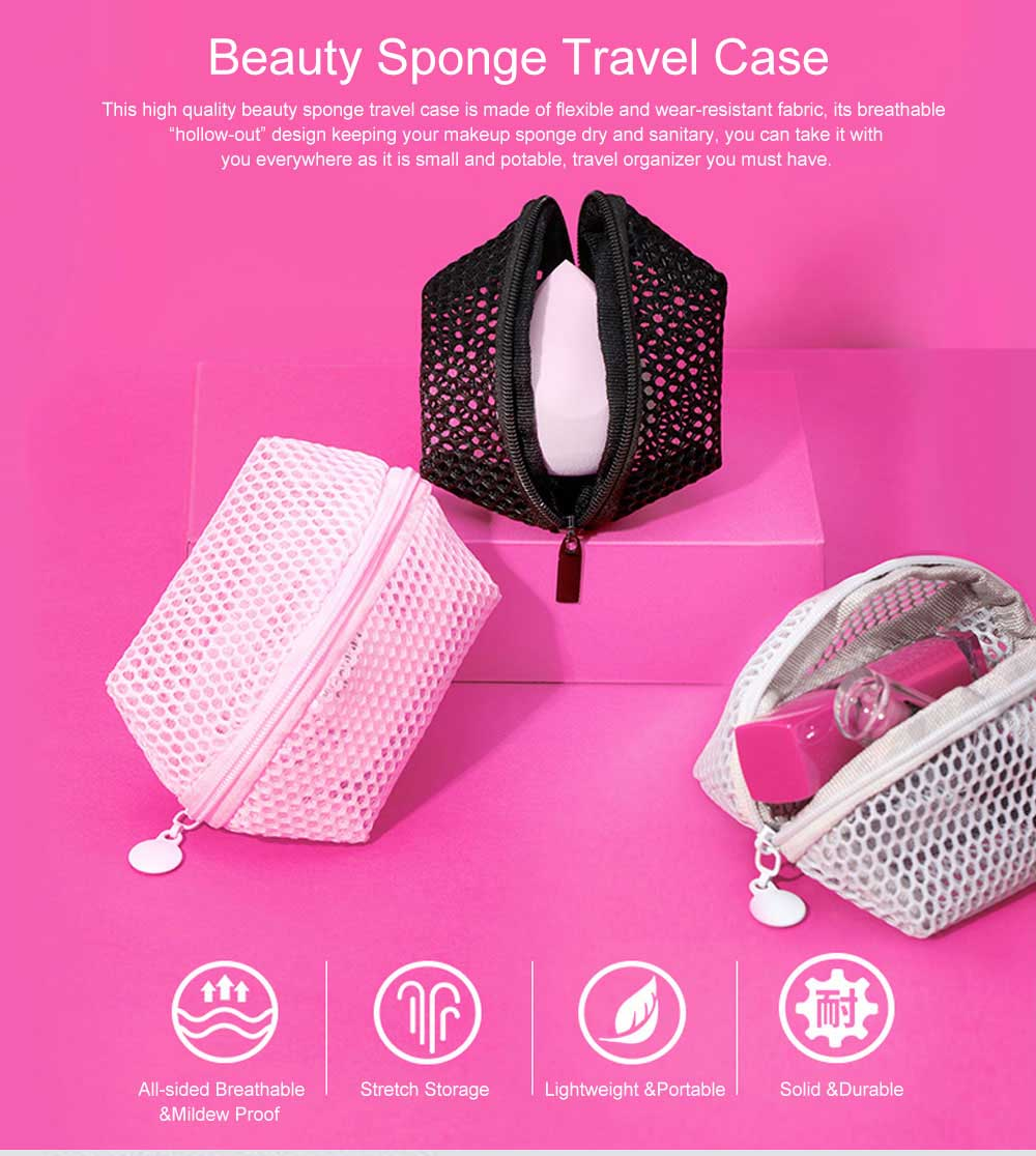 Makeup Egg Sponge Storage Net Bag, Portable Beauty Sponge Travel Case with Hollow-out Design for Air Drying 0