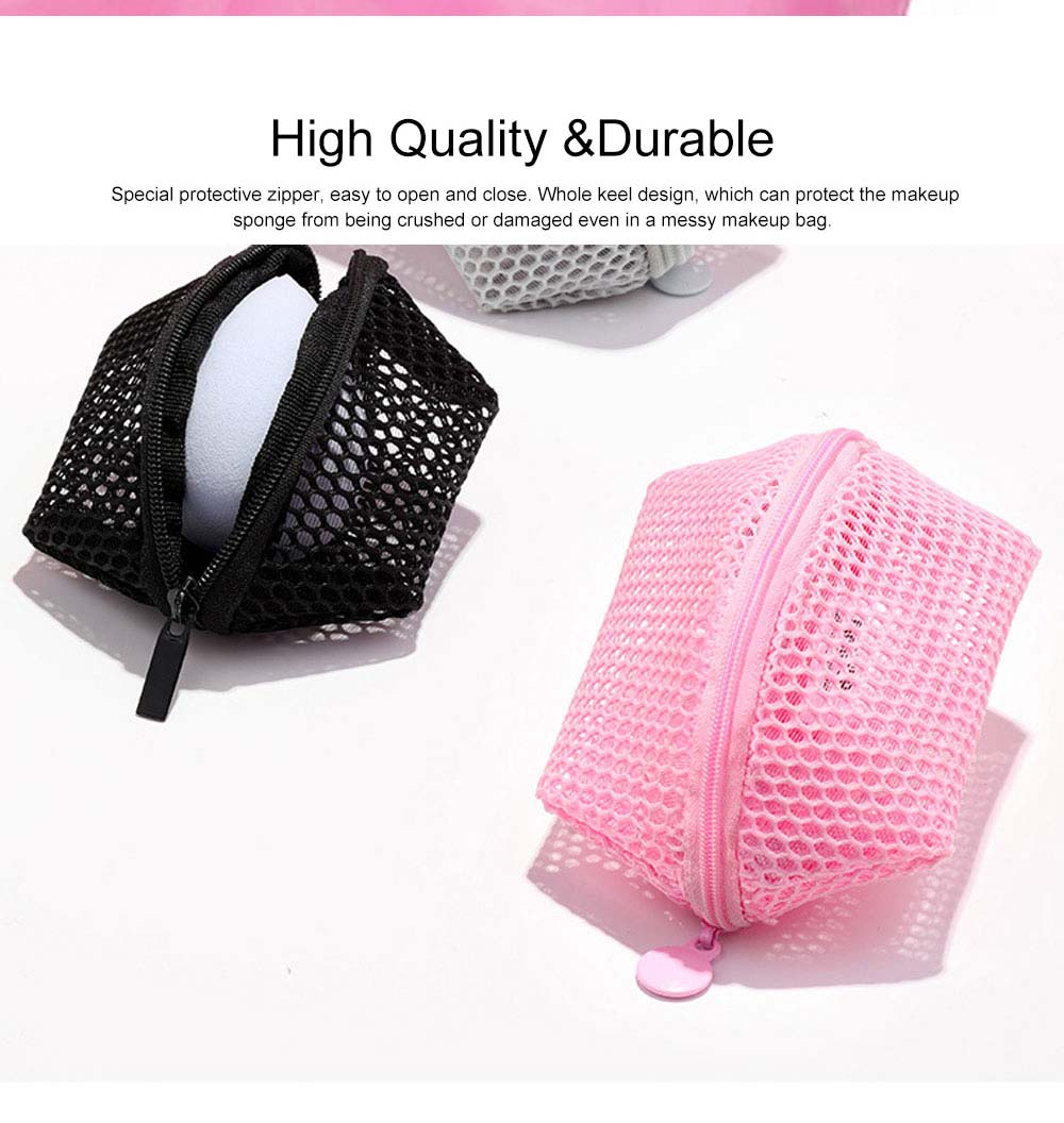 Makeup Egg Sponge Storage Net Bag, Portable Beauty Sponge Travel Case with Hollow-out Design for Air Drying 4