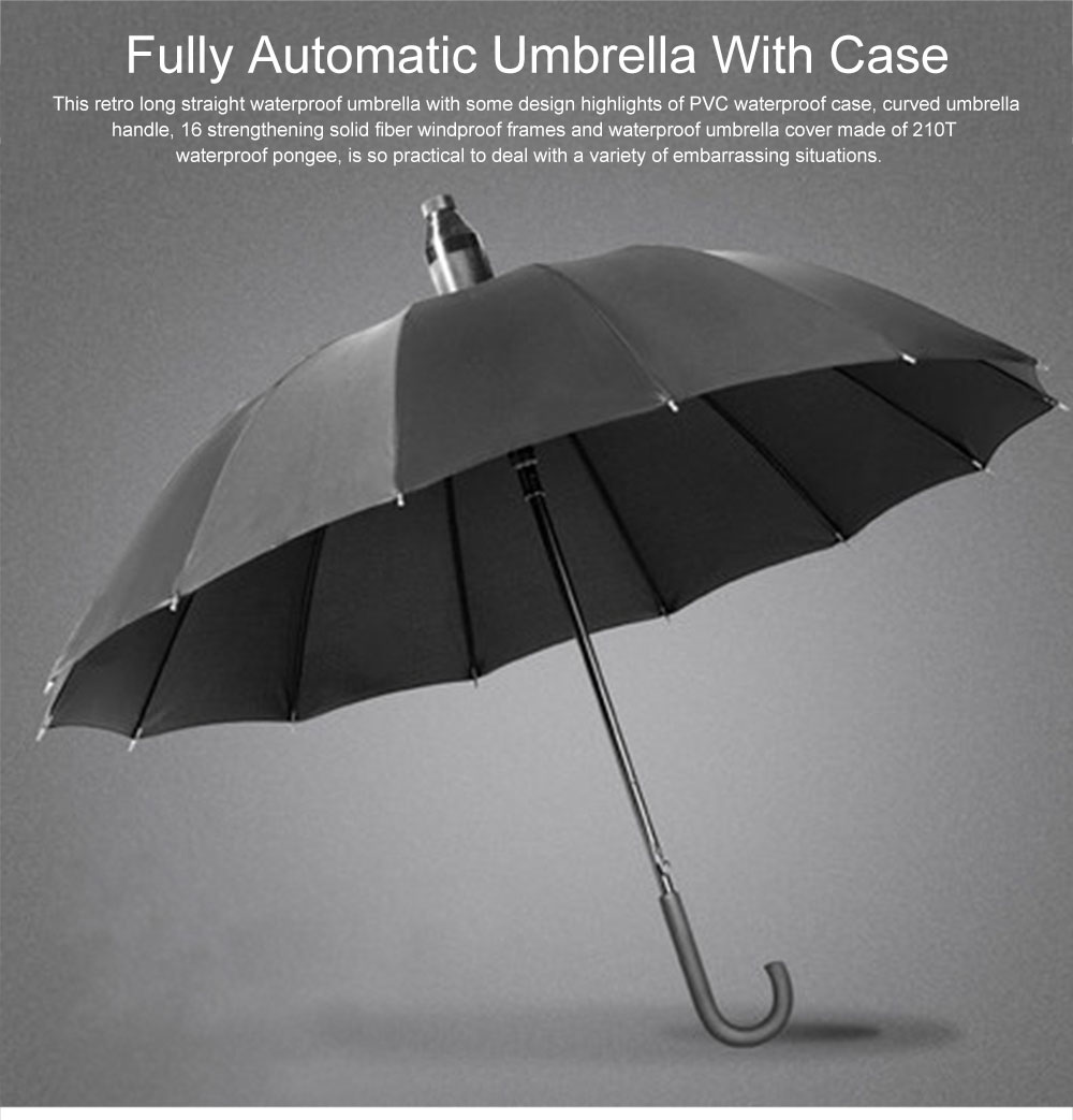 Fully Automatic Waterproof Umbrella & Case, Waterproof and Windproof Straight Umbrella for Car Rain Outdoor Use 0