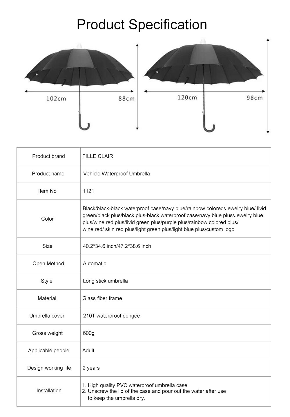 Fully Automatic Waterproof Umbrella & Case, Waterproof and Windproof Straight Umbrella for Car Rain Outdoor Use 8