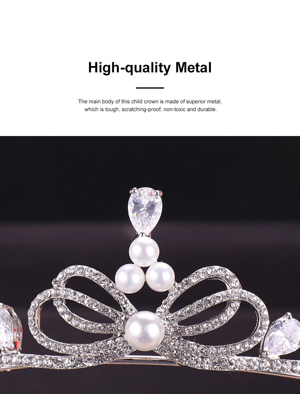 Fancy Delicate Artificial Pearl Rhinestone Decorative Crown, Evening Party Activity Baroque Style Children Hair Band for Girl 3