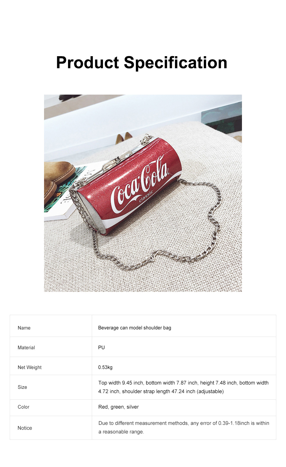 Cute Creative Coca-Cola Sprite Can Lady Shoulder Bag, Tough PU Creative Letters Decoration Small Cross-body Bag for Women 6