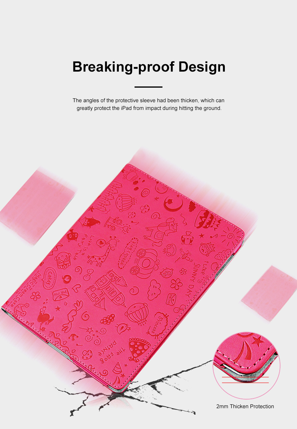 Creative Cute Stereo Cartoon Pattern iPad Protective Sleeve, Smooth PU Leather Tablet Computer Protection Case 5