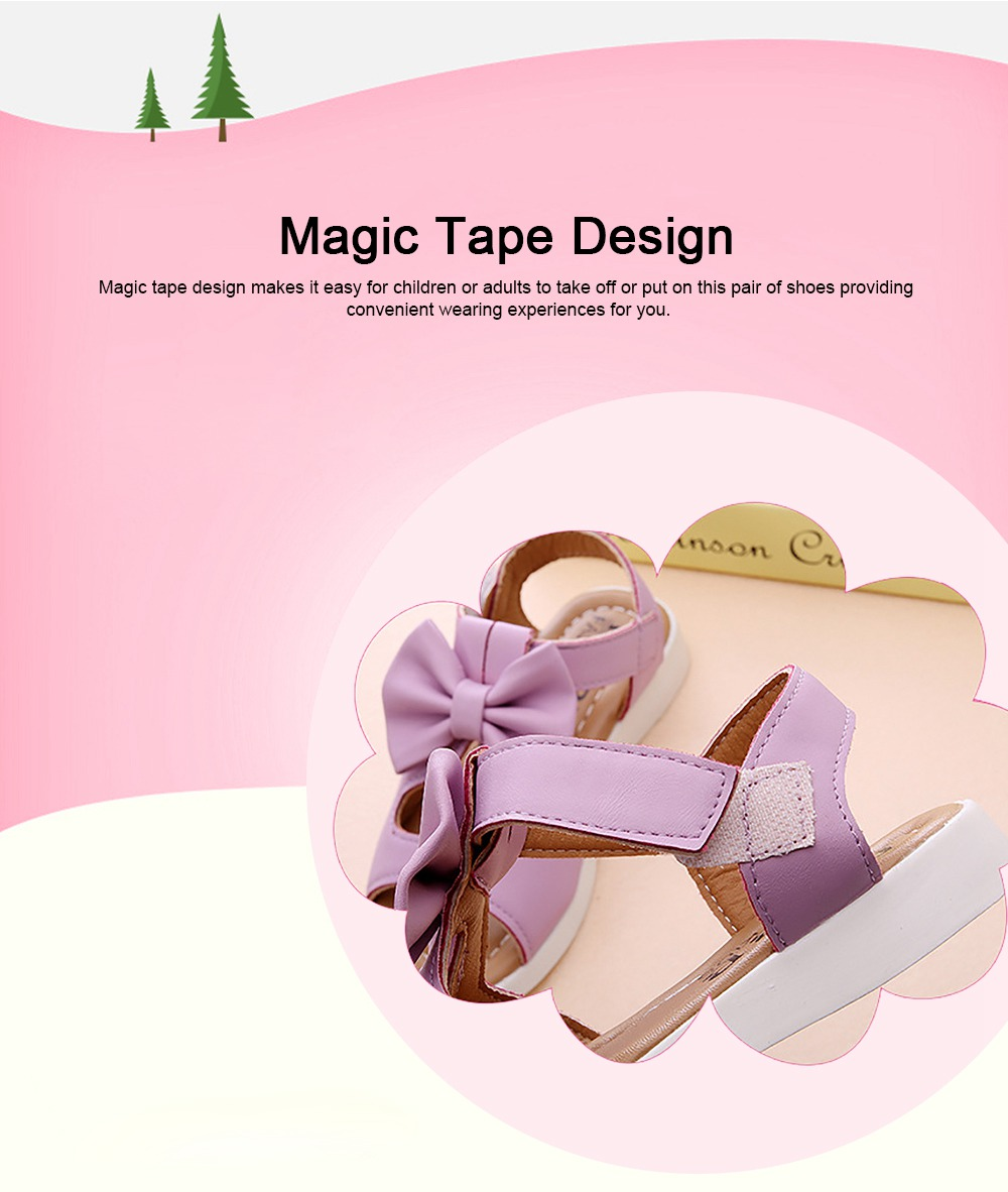 Lovely Stylish Children Girls Sandals with Bowknot Decoration Hollow Ultra-soft PU Leather Beach Shoes for Baby Girls 3