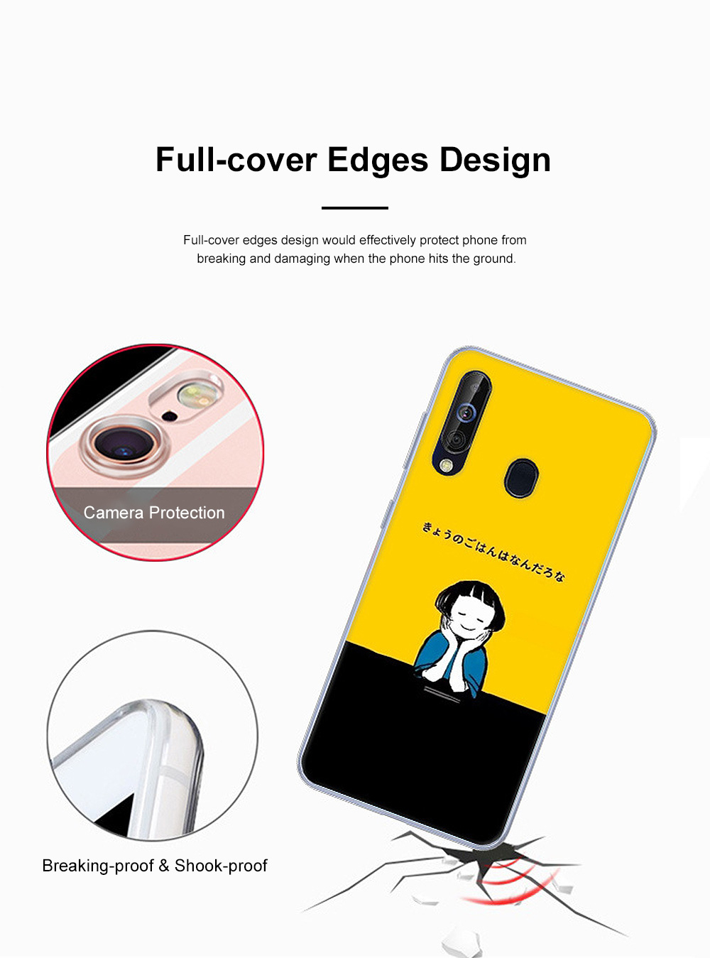 Cute Stylish Cartoon Painting Samsung Galaxy A60 Phone Case, Soft Flexible Breaking-proof TPU Samsung Phone Protective Cover 4