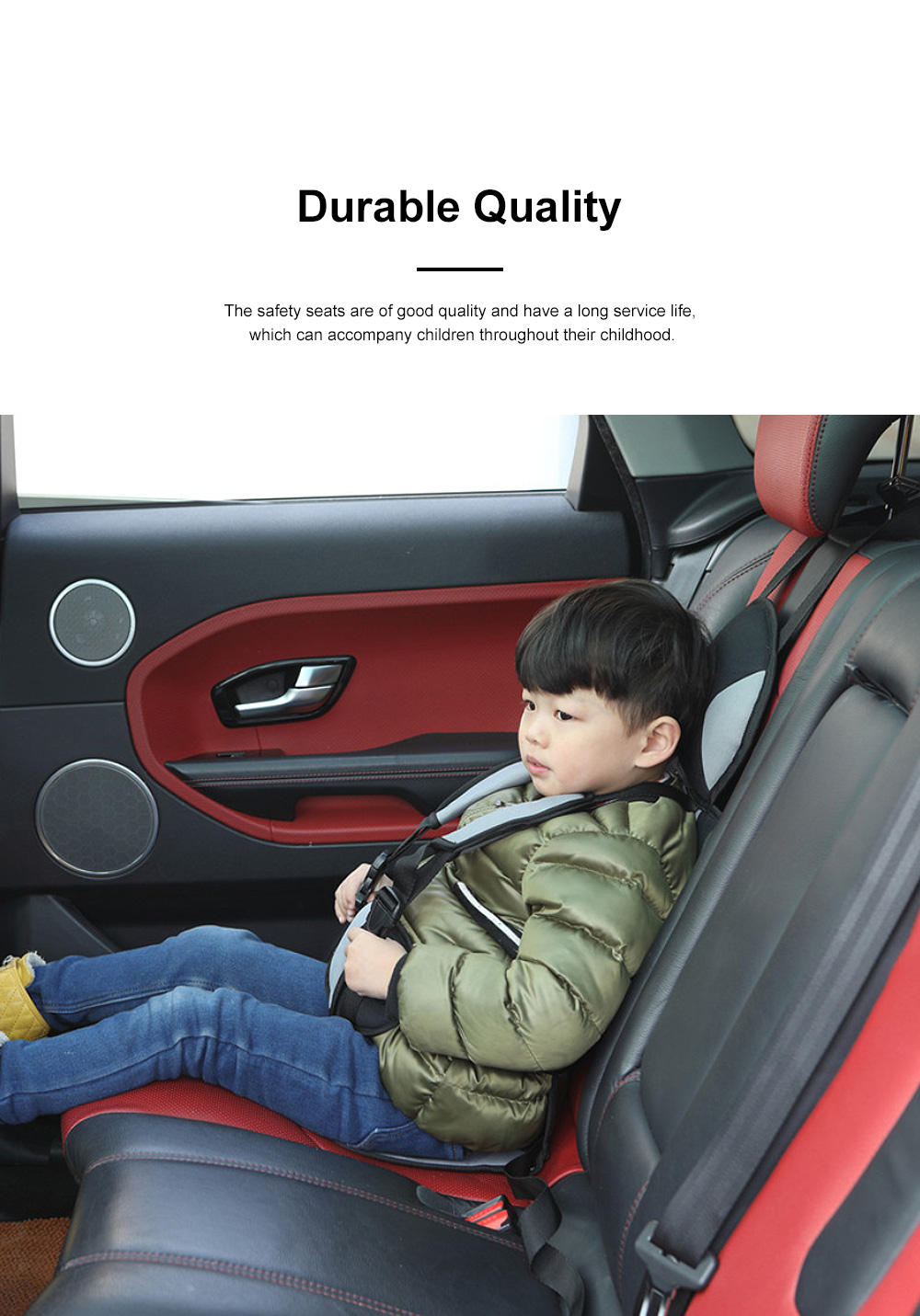 Simple Installation Comfortable Child Safety Seat, Foldable Soft Car Safety Seat for Kids with Five-point Buckle 1