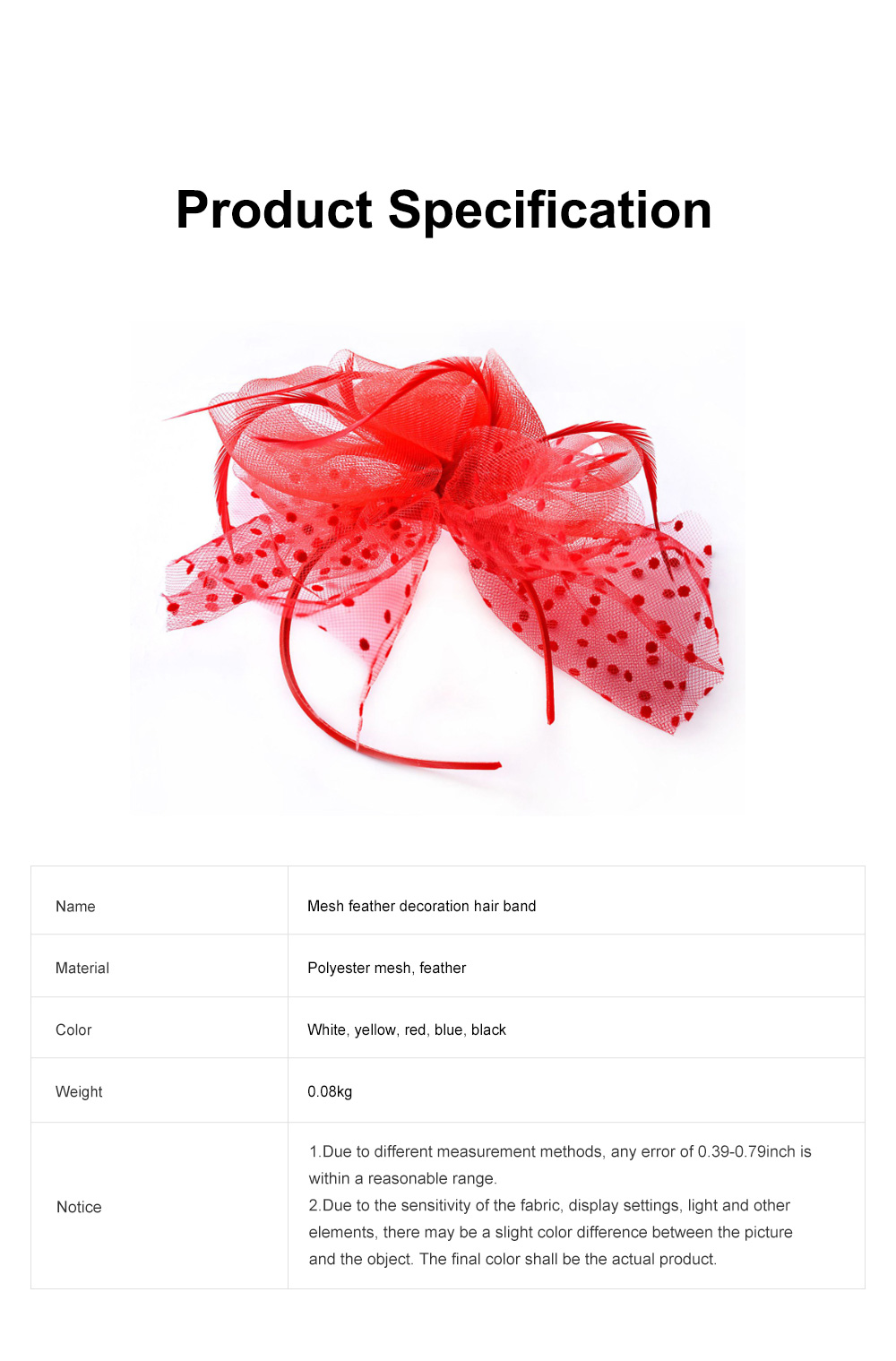 Fancy Flower Model Mesh Feather Decoration Hair Band, Delicate Evening Party Ladies Hair Decoration Ornament 6