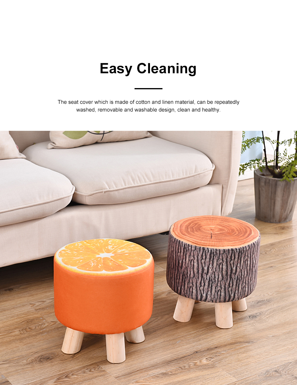 Solid Wood Footstool Ottoman with Four Wooden Legs and Removable Linen Cover Decorative Stool for Home Use 1