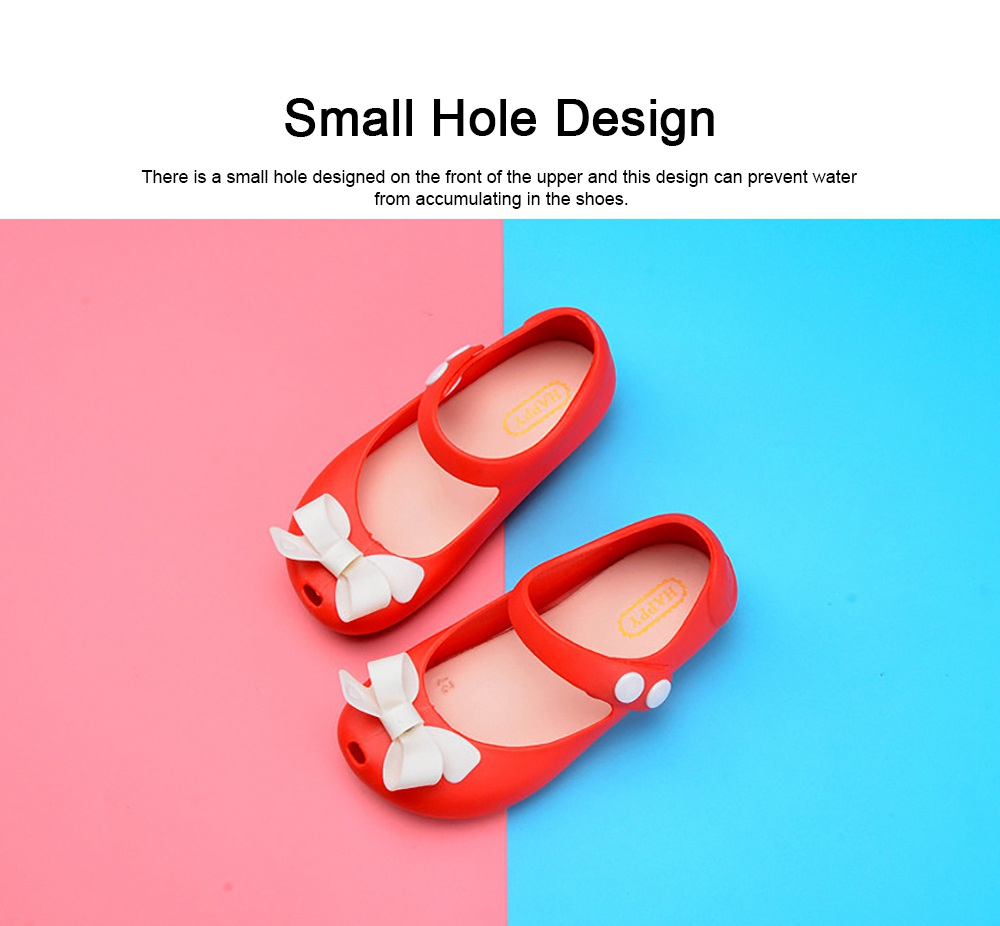 Cute Stylish Bowknot Decorative Soft Flexible PVC Rubber Children Girls Nude Beach Shoes with Snap Fastener 2