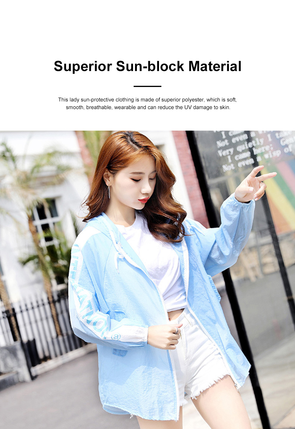 Stylish English Decoration Ultra-thin Sun-protective Clothing, Ultraviolet-Proof Quick Dry Outdoors Coat for Ladies 1