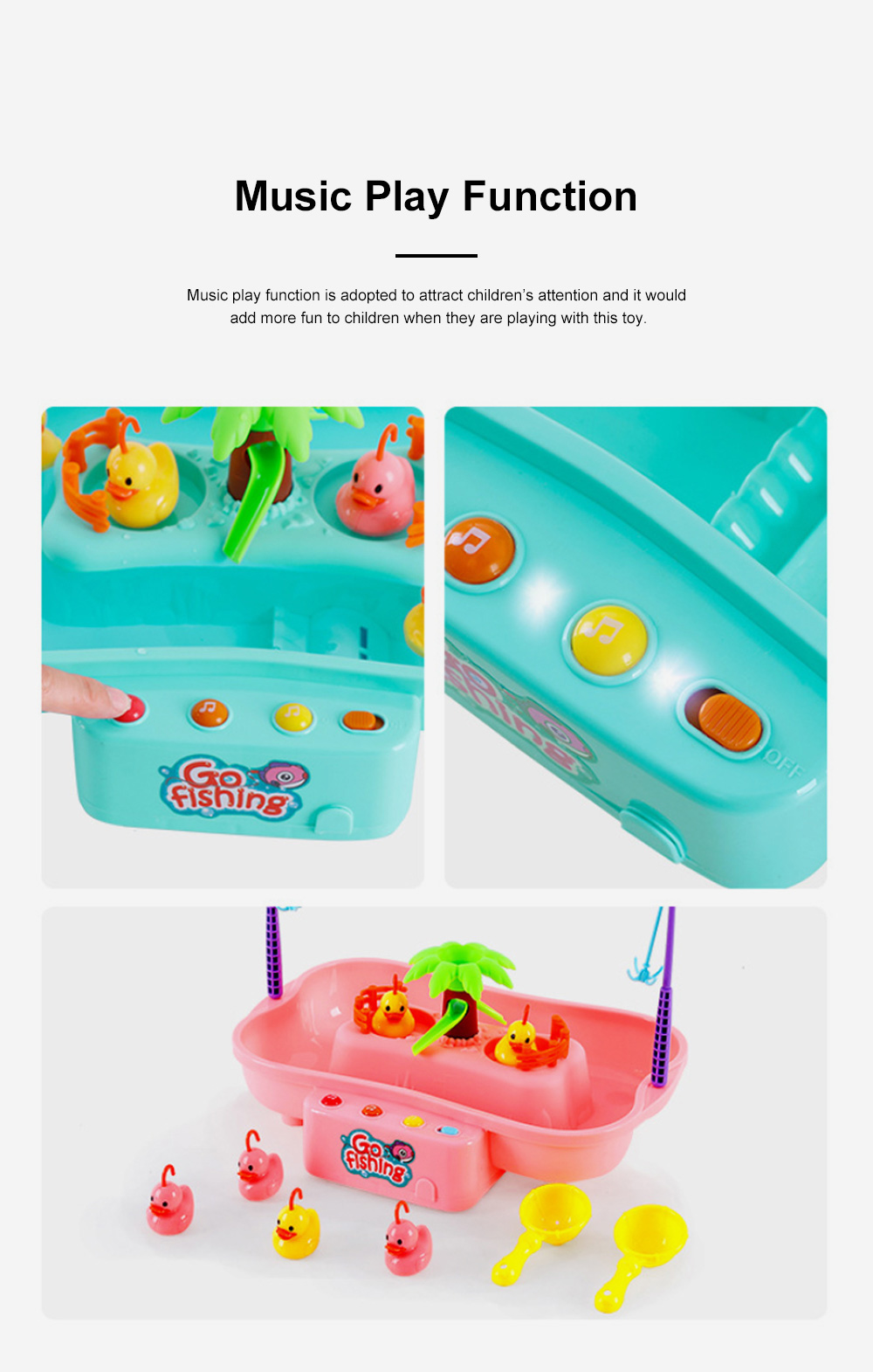 Rotation Ducks Toys Fishing Game with Music Play, Children Splashing Puzzle Game Parent-Children Interaction 3