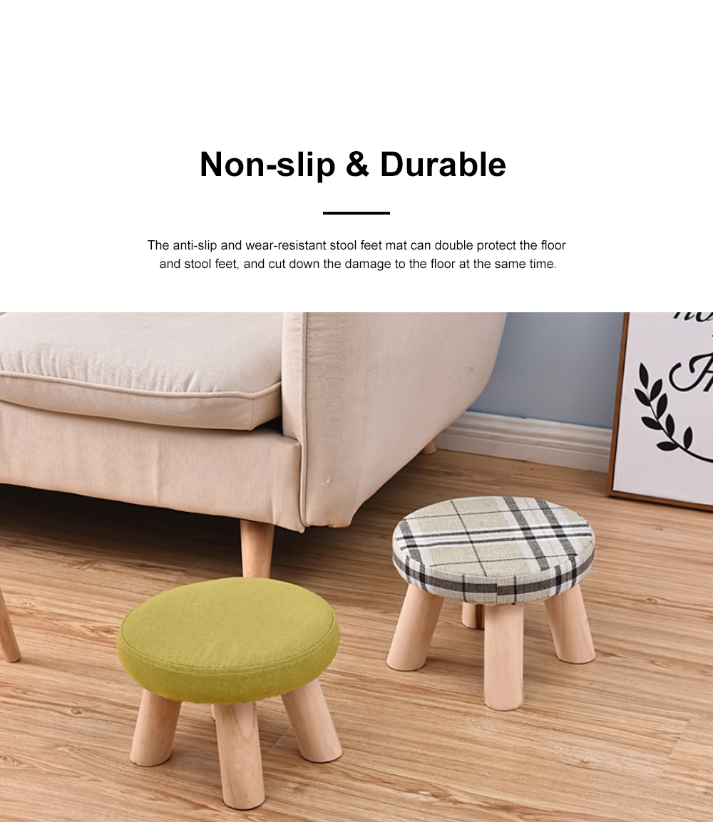 Simple Fruit Patterns Footstool with Solid Wooden Legs Small Round Fabric Ottoman for Home Decoration 4