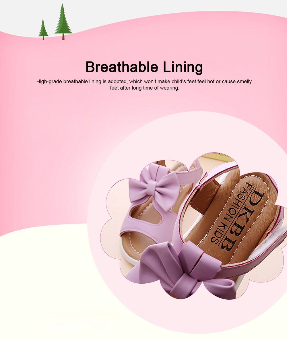 Lovely Stylish Children Girls Sandals with Bowknot Decoration Hollow Ultra-soft PU Leather Beach Shoes for Baby Girls 5