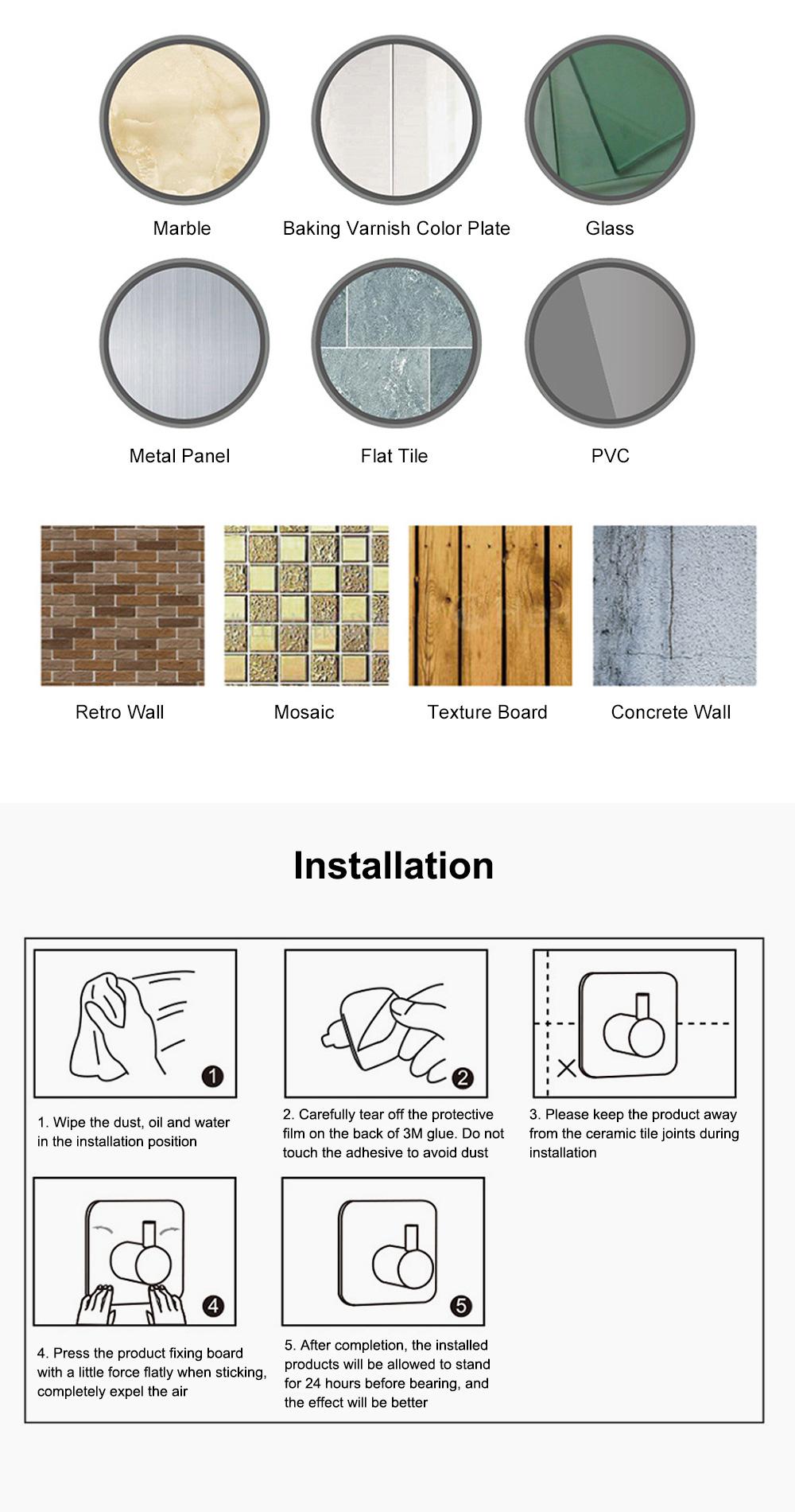 3M Glue Long Tail Hooks for Kitchen Bathroom Bedroom Hanging Waterproof 304 Stainless Steel Wall Hooks 8