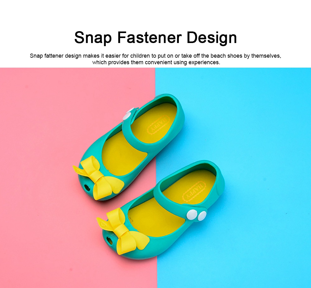Cute Stylish Bowknot Decorative Soft Flexible PVC Rubber Children Girls Nude Beach Shoes with Snap Fastener 3