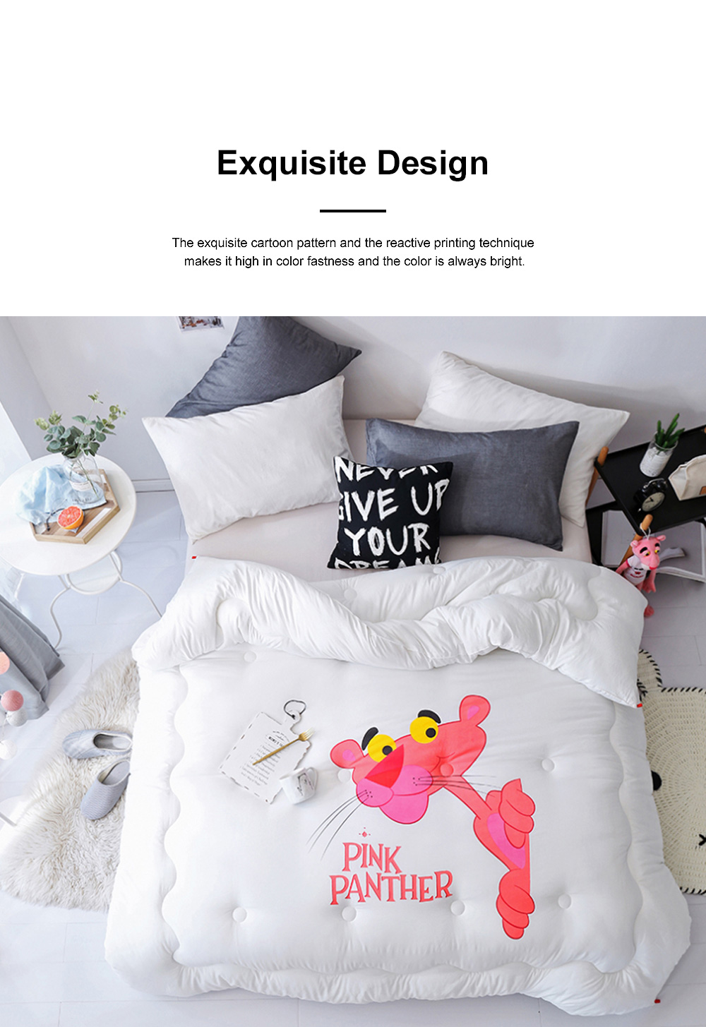 Pink Panther Warm Cotton Quilt Winter Spring Quilt Set Super Soft Washable 5 Colors 200 x 230cm 1
