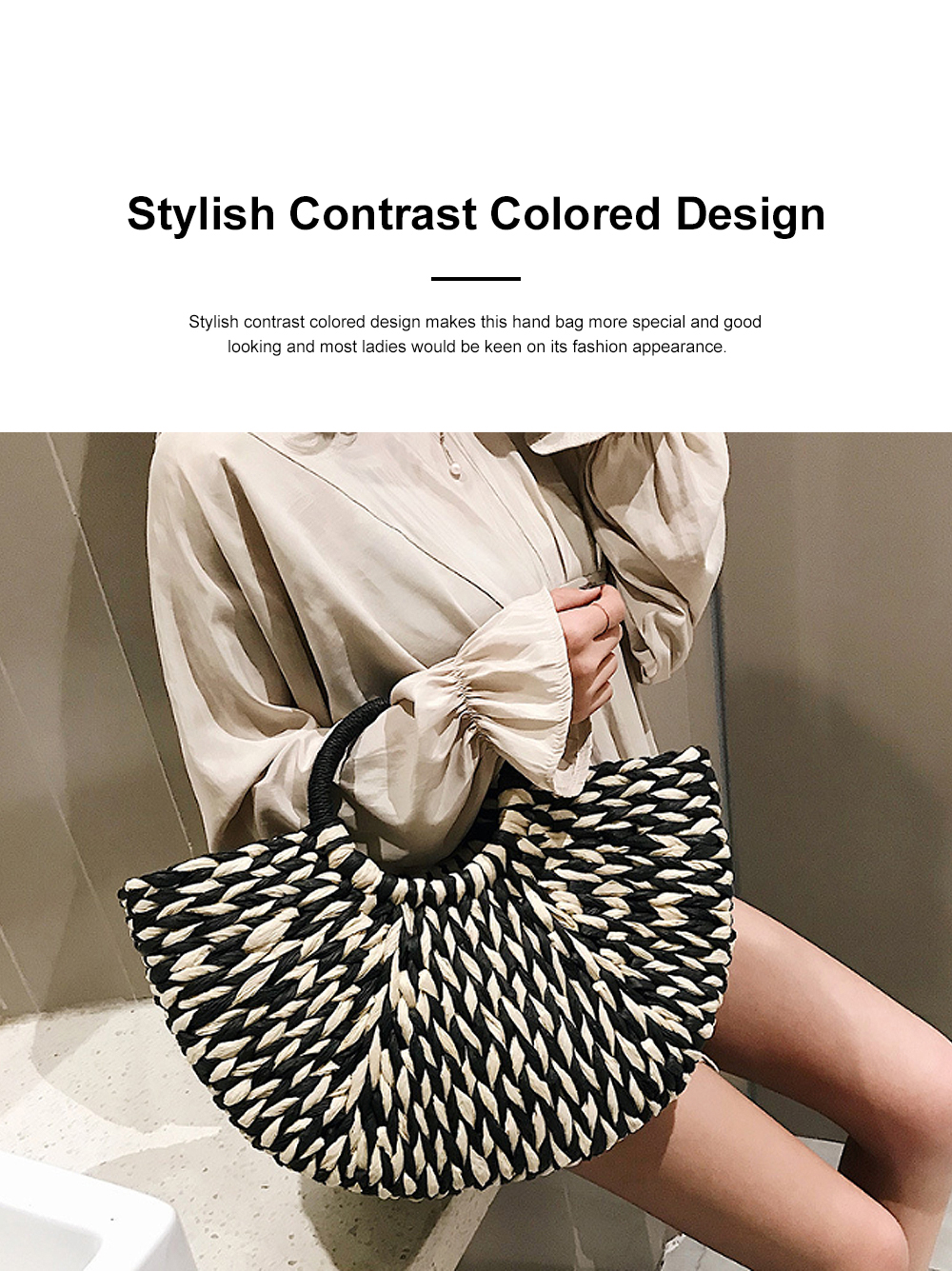 Fancy Elegant Contrast Colored Lady Straw Hand Bag, Minimalist Arch Vacation Beach Hand Bag for Women 1