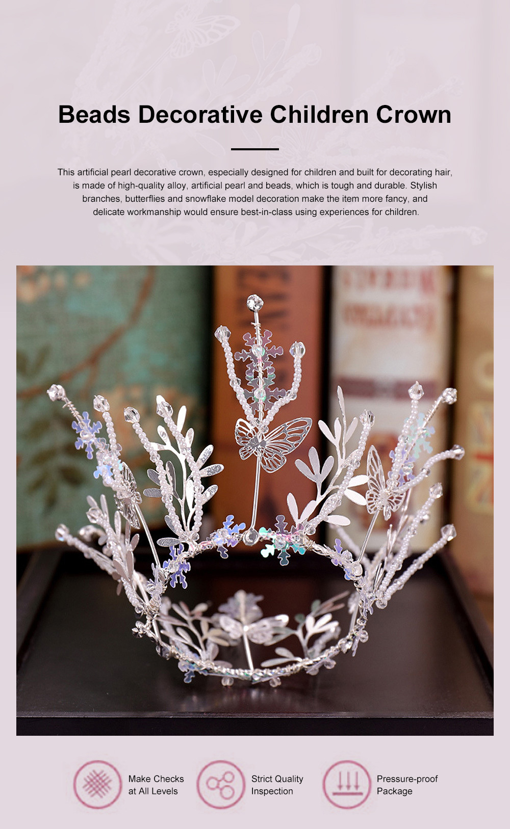 Child Elegant Fancy Artificial Pearl Beads Decorative Crown, Branches Butterflies Snowflake Model Hair Band for Girls 1