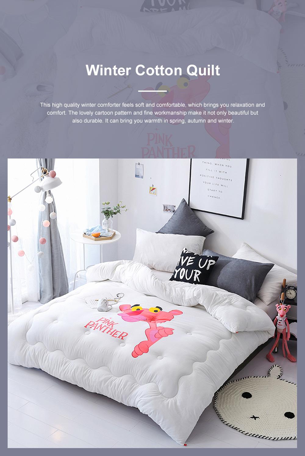 Pink Panther Warm Cotton Quilt Winter Spring Quilt Set Super Soft Washable 5 Colors 200 x 230cm 0