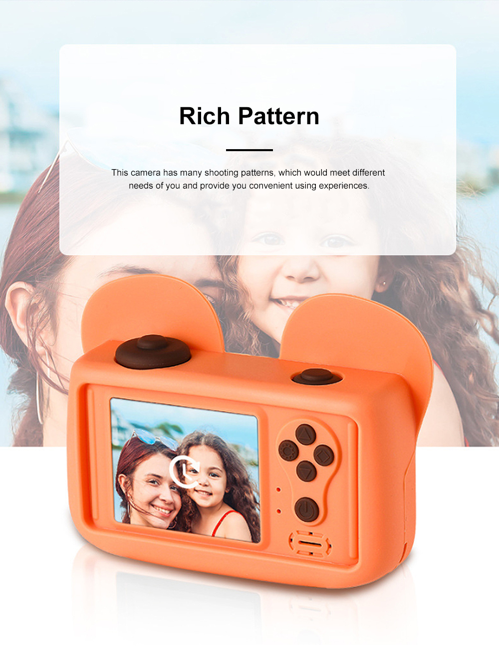 Cute Animal Model Mini Digital Camera for Children WIth Breaking-proof Silicone Shell 16G 1200W HD Pixel 2.0 inch Video Recorder Birthday Present 3