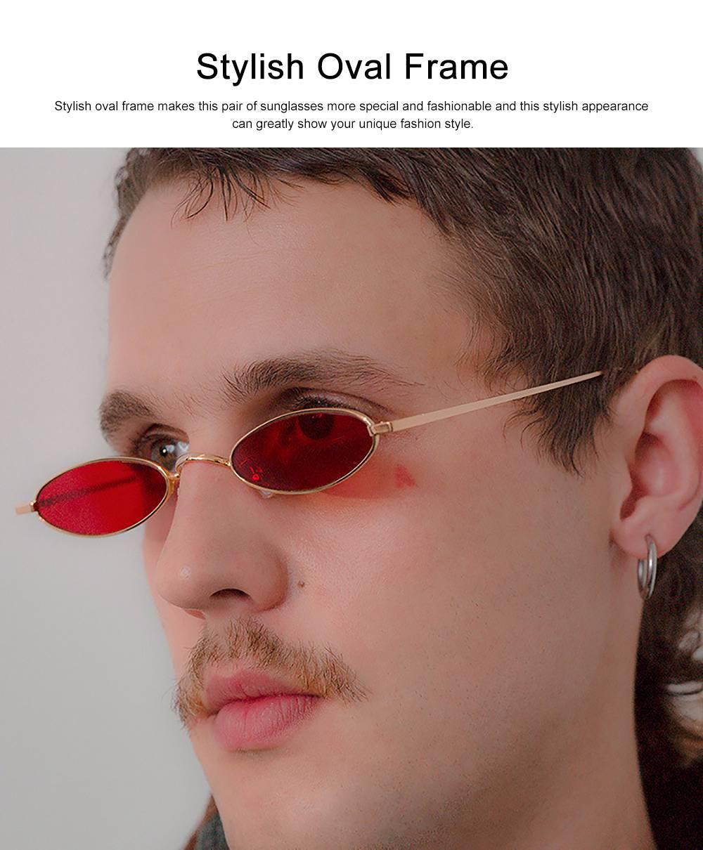 Stylish Individual Oval Model Frame Unisex Sunglasses Sunlight UV Protection Eyeglasses for Women Men 5