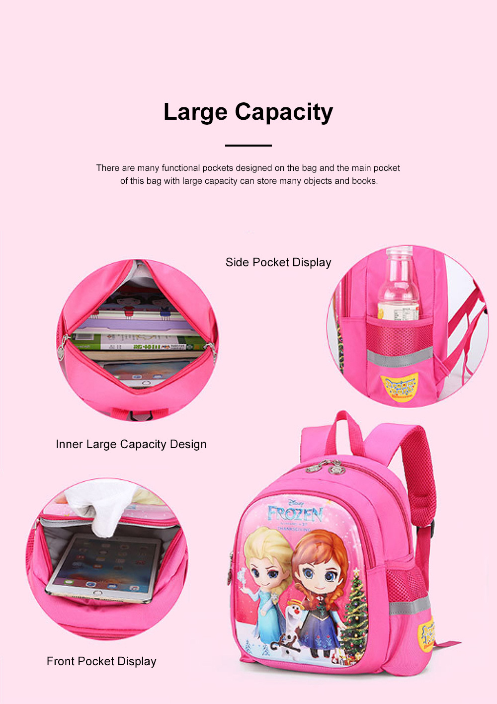 Cute Frozen Cartoon Pattern Children Backpack with Prevent Lost Band, Water-proof Oxford Cloth Kindergarten Shoulders Bag for Kids 5