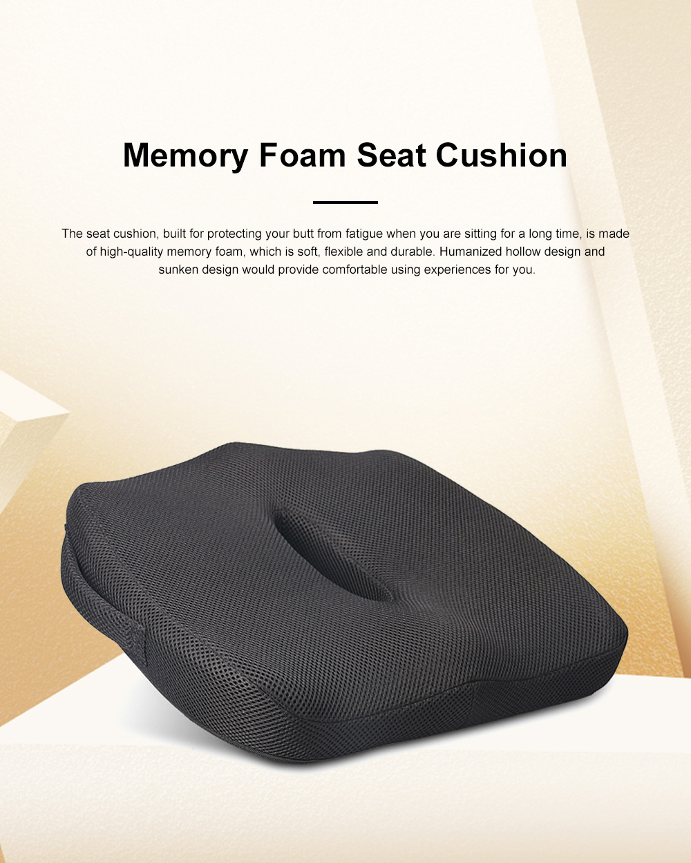 Ultra-soft Breathable Mesh Fabric Memory Foam Seat Cushion, Hollow Humanized Car Office Chair Seat Pillow 0