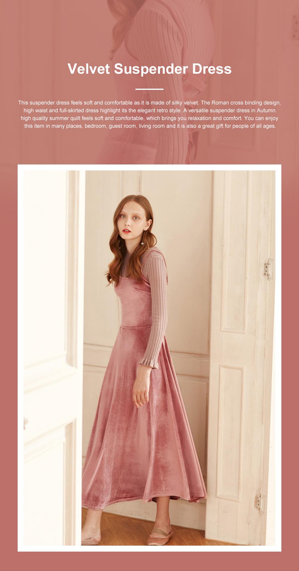 Women's Overall Suspender Dress Velvet Classic Retro Style with High Waist and Back Strap Ankle Length Bottoming Vest Skirt 0