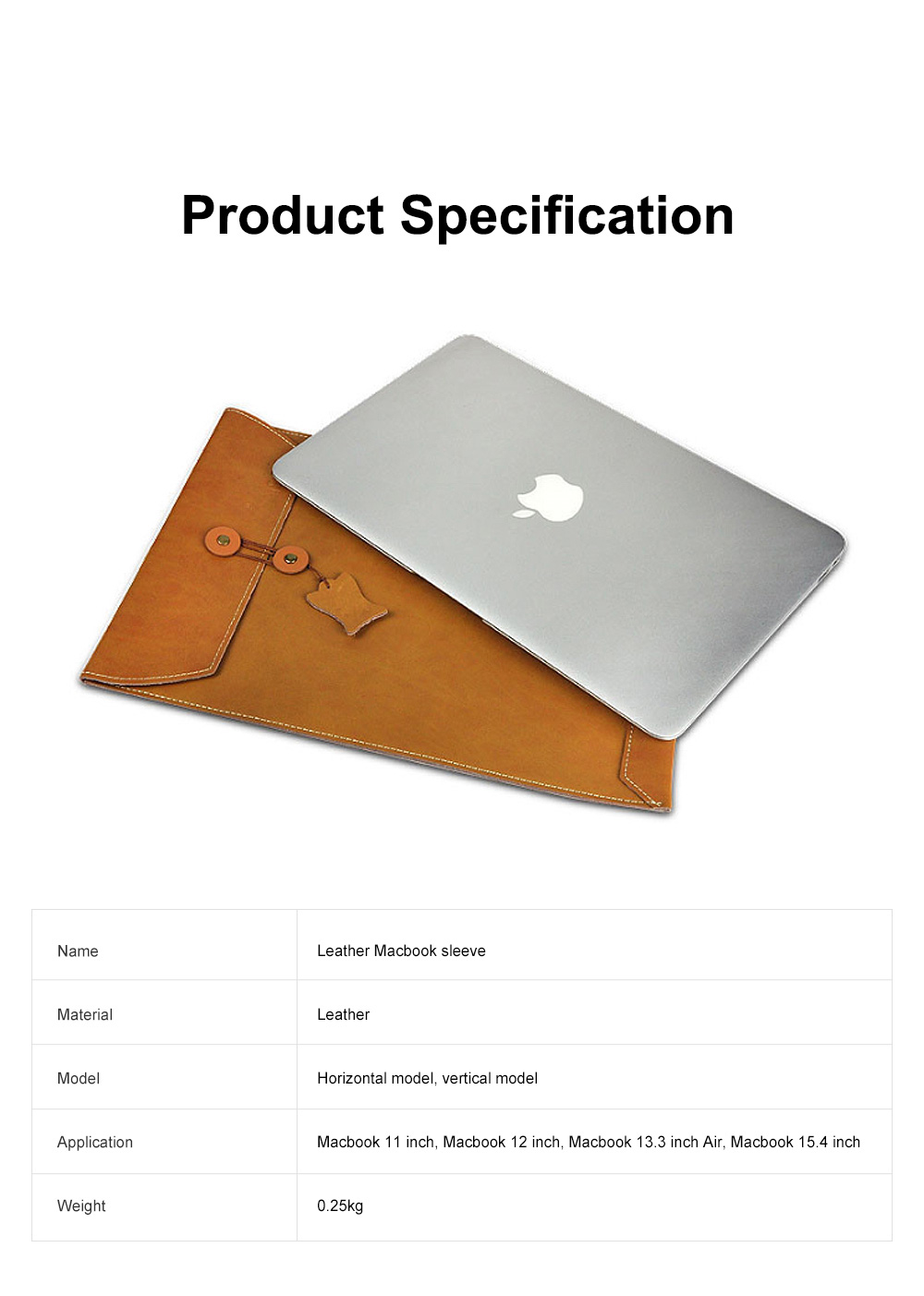 Soft Scratching-proof Leather Macbook Bag Pouch, Envelop Model Laptop Protective Cover for Macbook 11inch 12inch 13.3inch Air 15.4inch 7