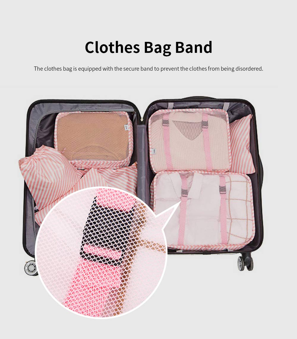 Seven Pieces Travel Storage Bag Set Wash Clothes Bag Luggage Packing Organizer with Different Sizes 1