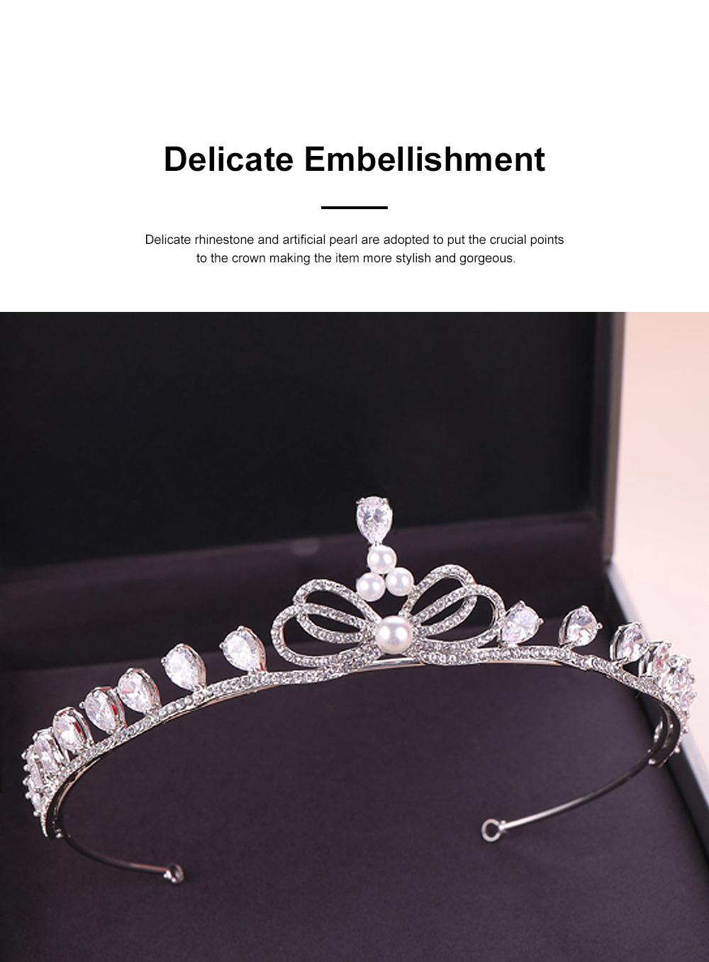 Fancy Delicate Artificial Pearl Rhinestone Decorative Crown, Evening Party Activity Baroque Style Children Hair Band for Girl 1