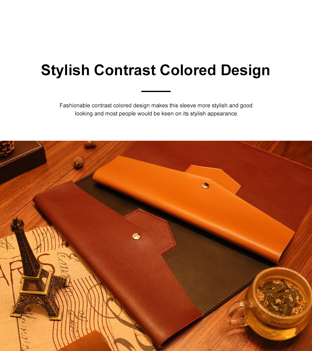 Minimalist Contrast Colored Bag for Mackbook 13.3 inch, Ulta-soft Microfiber Leather Laptop Protective Cover 1