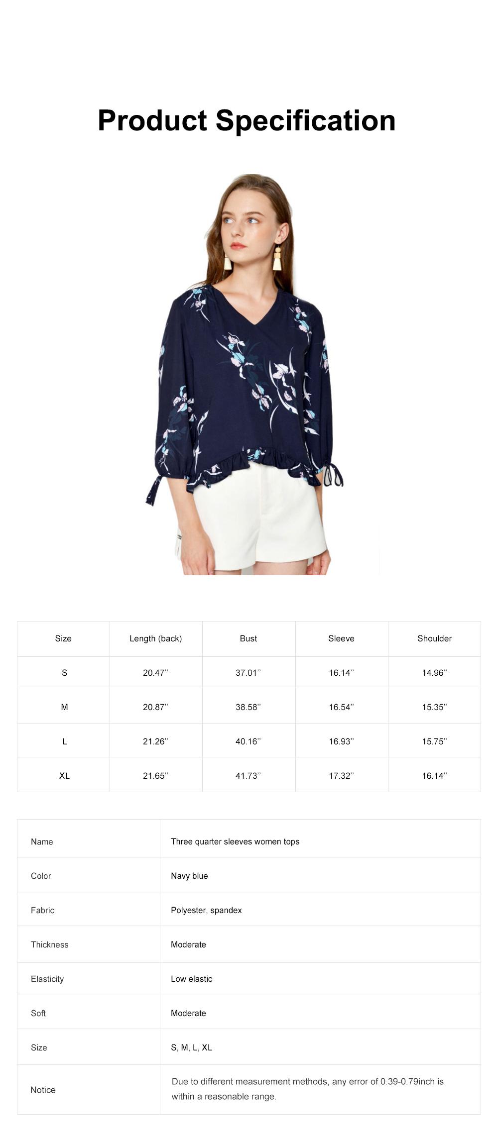Fashion Navy Blue Printing Three Quarter Sleeves Women Tops, V-neckline Chiffon with Stringy Selvedge for Ladies 6
