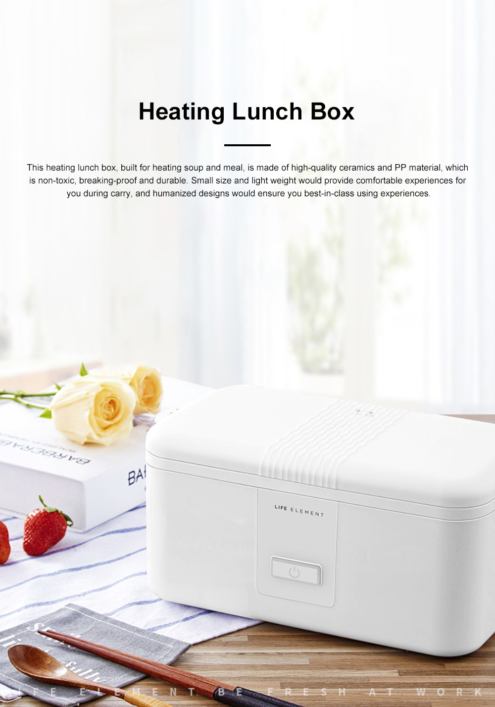 Portable Heat Preservation Electric Cooker with Double Ceramics Bowls, Delicate Food-grade PP Material Heating Lunch Box 0