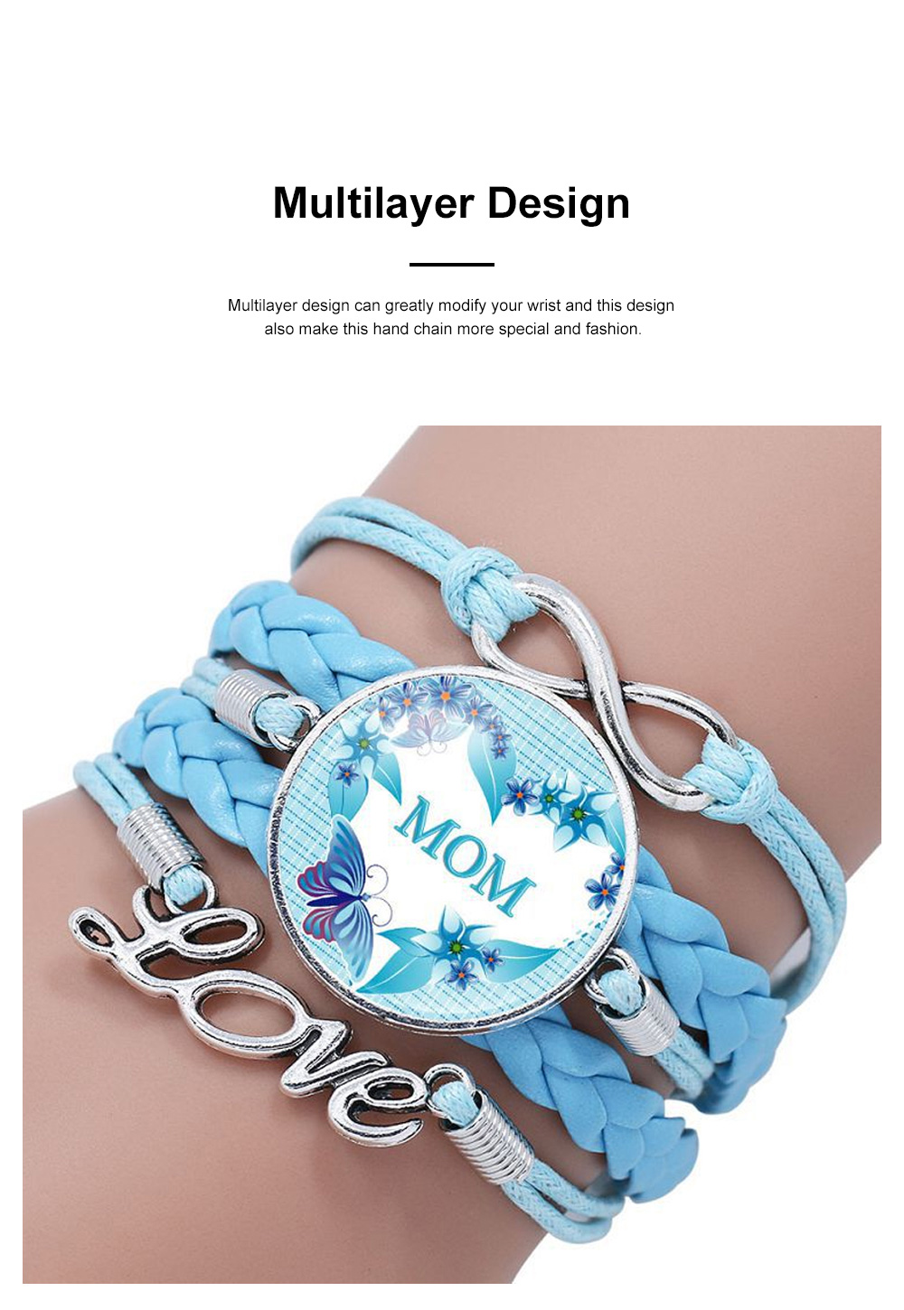 Stylish Fancy Family Mom Letters Decoration Bracelet, Multiple Layers Knitted Leather Cystal Hand Chain 2