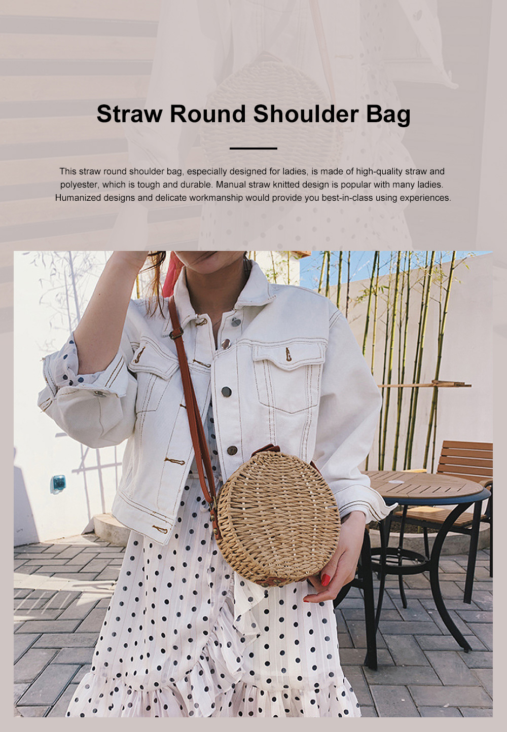 Simple Fancy Straw Shoulder Round Bag for Ladies, Beach Vacation Holiday National Style Women Shoulder Bag 0
